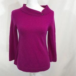 J. Crew Celeste Magenta Pink Eva Cashmere Sweater